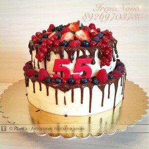 торт женщине на юбилей 55 лет фото