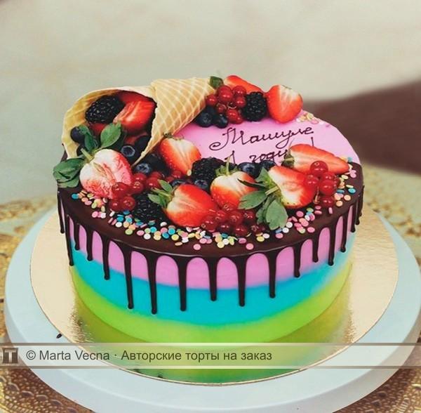 торты с ягодами и фруктами фото