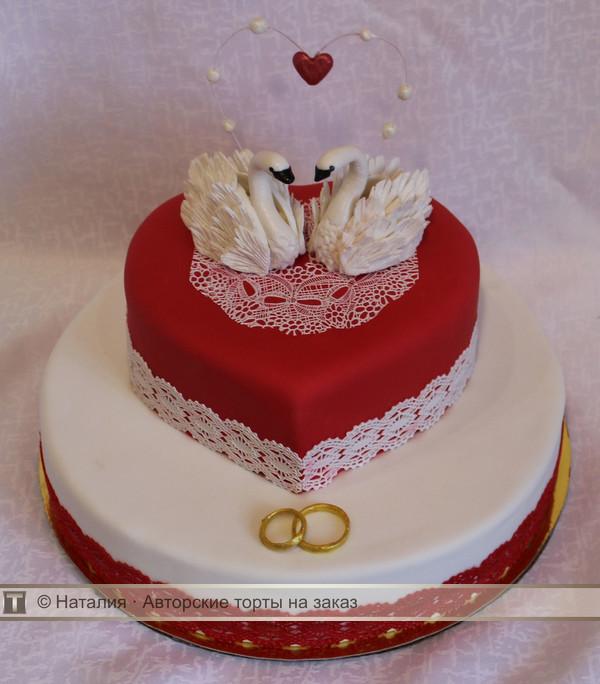 торт с лебедями свадебный фото