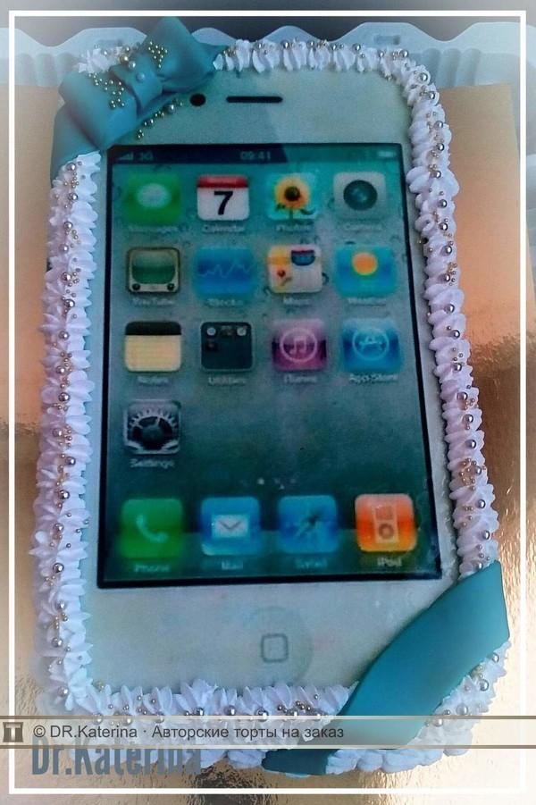 Торт с вафельной картинкой телефон