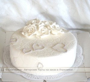 одноярусные торты на свадьбу фото