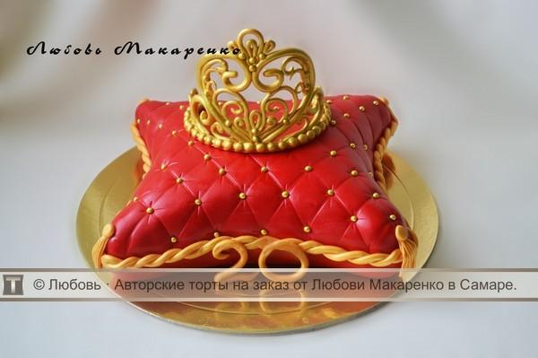 фото торт корона на подушке