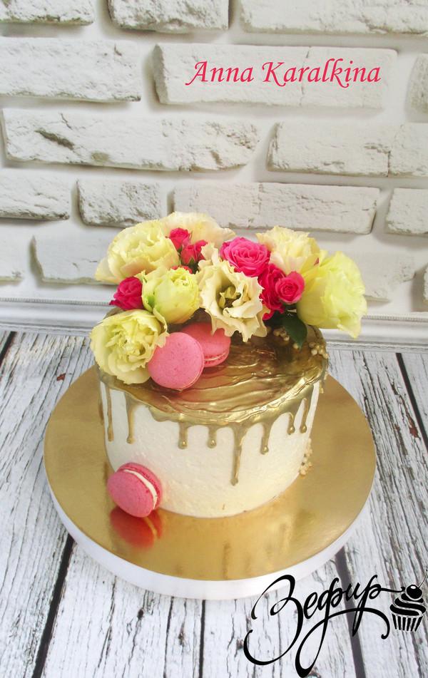 Как сделать золотые подтеки на торте