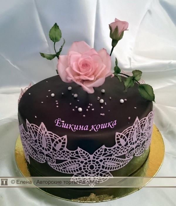 Торт с кружевам